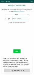 Enter Your Phone Number to Open GB WhatsApp APK