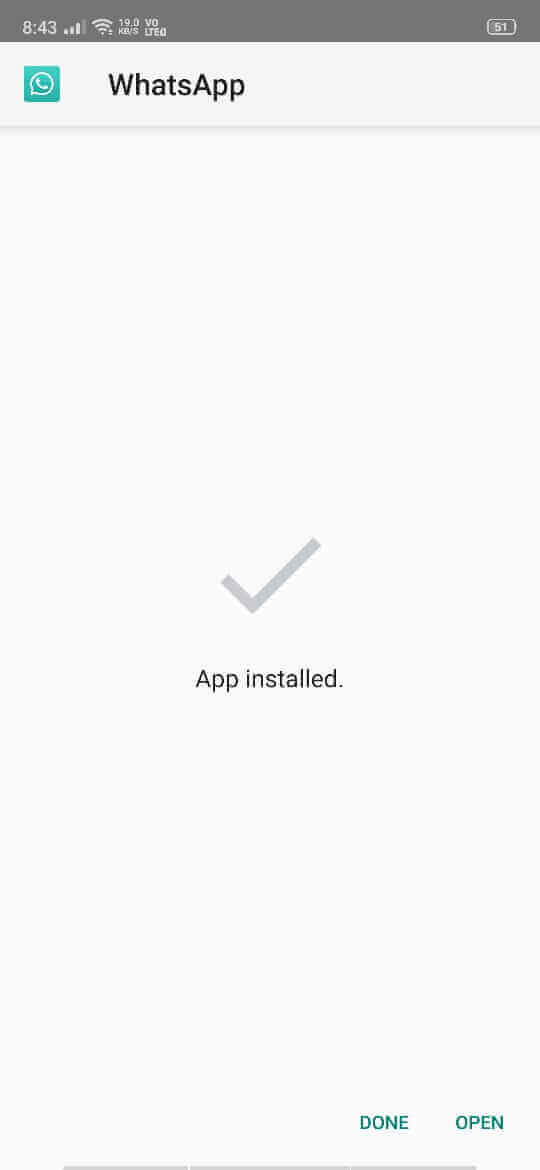 Installing GB WhatsApp APK Completed